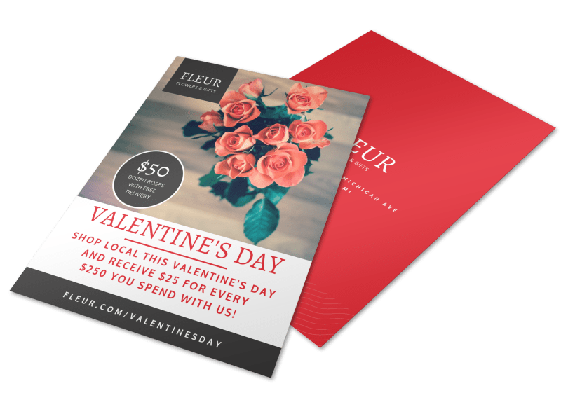 Floral Valentine's Day Flyer Template Preview 1