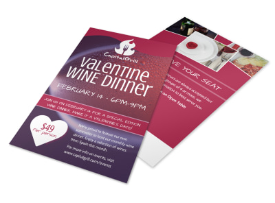 Valentine's Wine Dinner Flyer Template preview