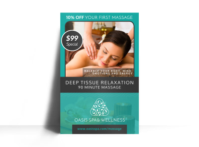 Deep Tissue Massage Poster Template preview