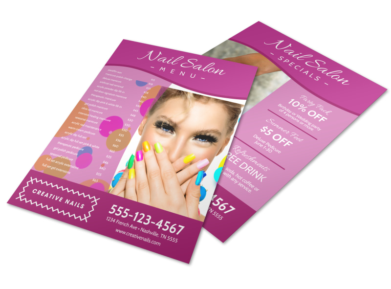 Pink Nail Salon Menu Template