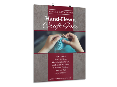 Hand-Hewn Craft Fair Poster Template preview