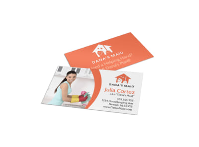Orange House Cleaning Business Card Template preview