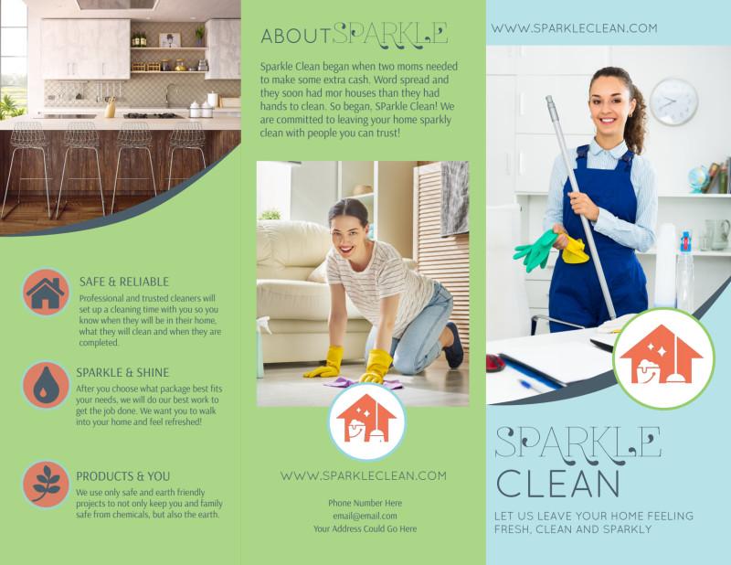 Sparkle Clean Tri-Fold Brochure Template Preview 2