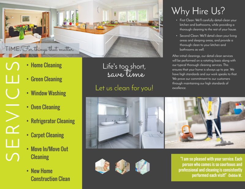 Green House Cleaning Tri-Fold Brochure Template Preview 3