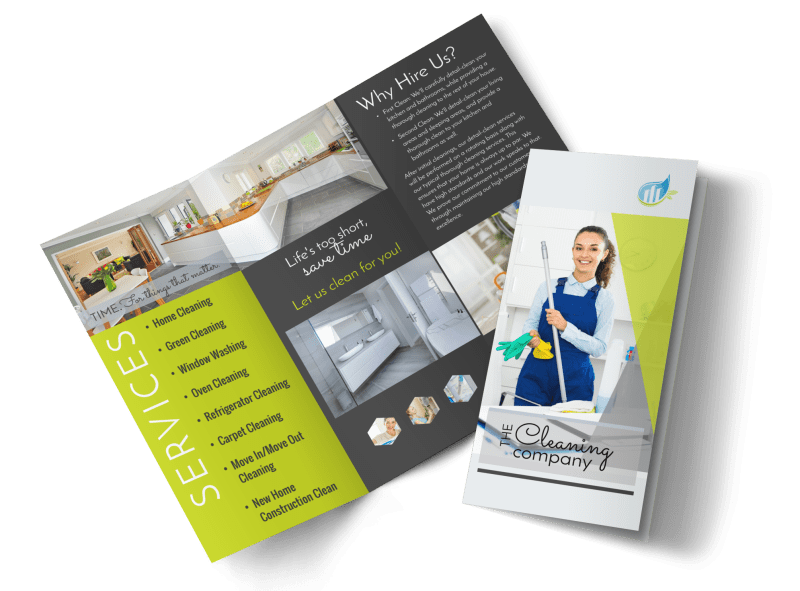 Green House Cleaning Tri-Fold Brochure Template Preview 1