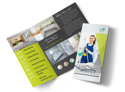 Green House Cleaning Tri-Fold Brochure Template preview
