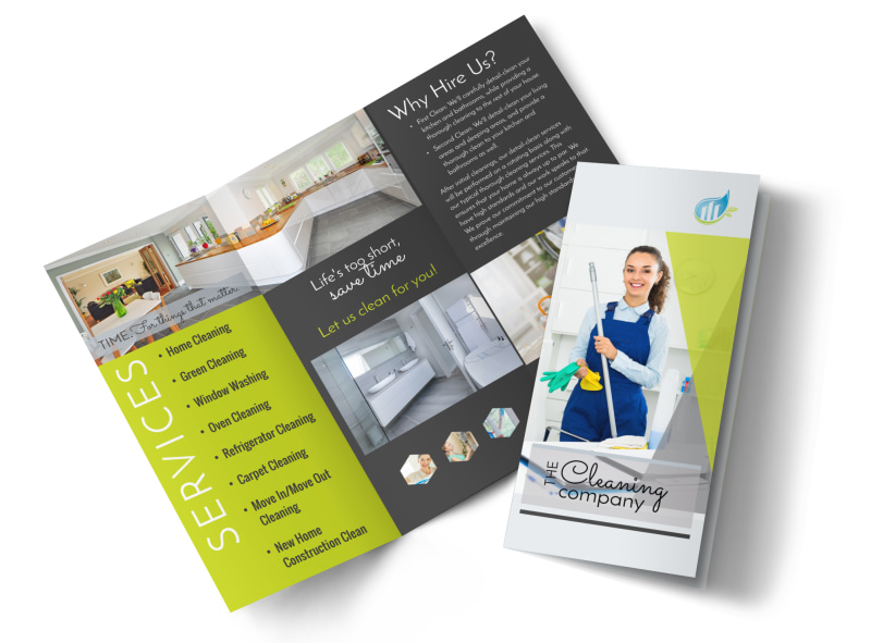 Green House Cleaning Tri-Fold Brochure Template