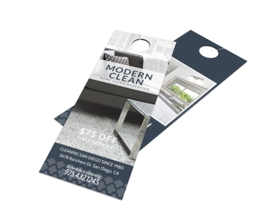 Modern House Cleaning Door Hanger Template preview