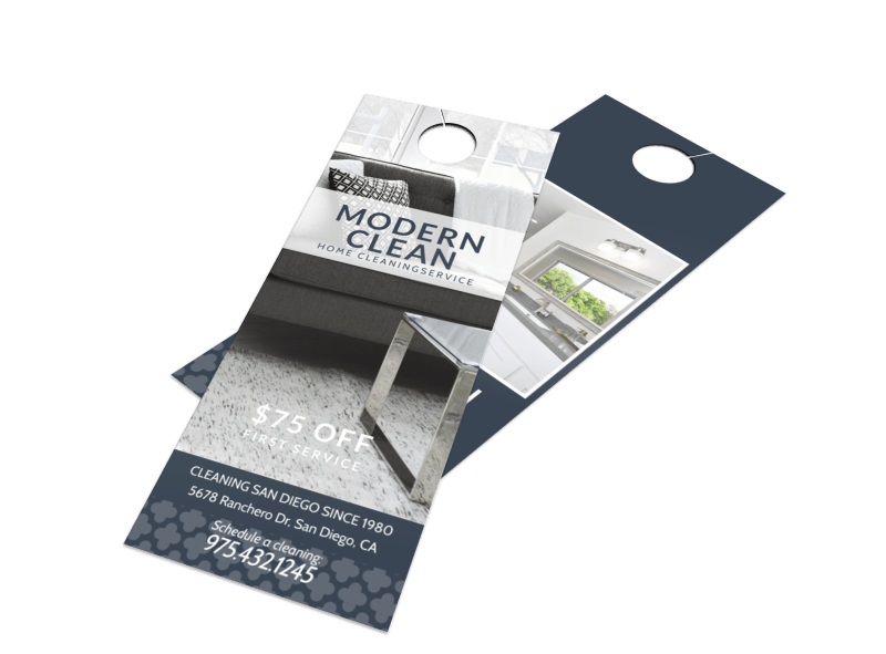 Modern House Cleaning Door Hanger Template Preview 1