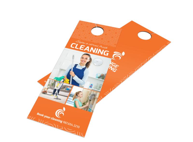 Orange House Cleaning Door Hanger Template Preview 4