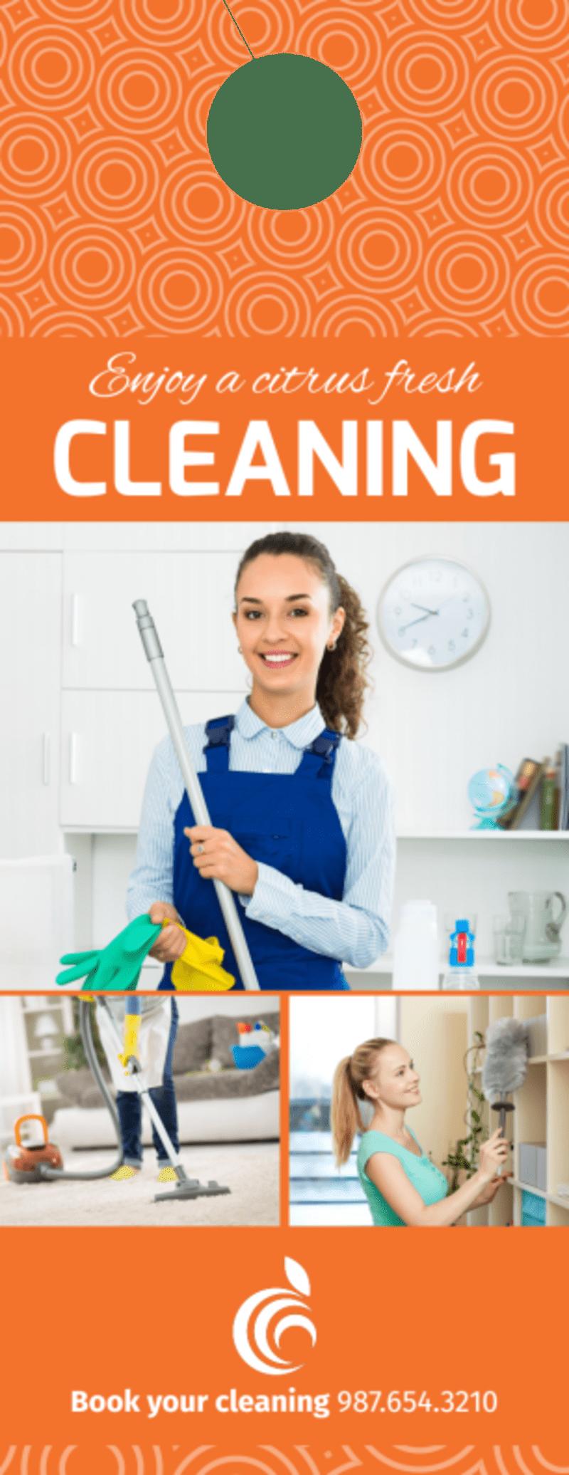 Orange House Cleaning Door Hanger Template Preview 2