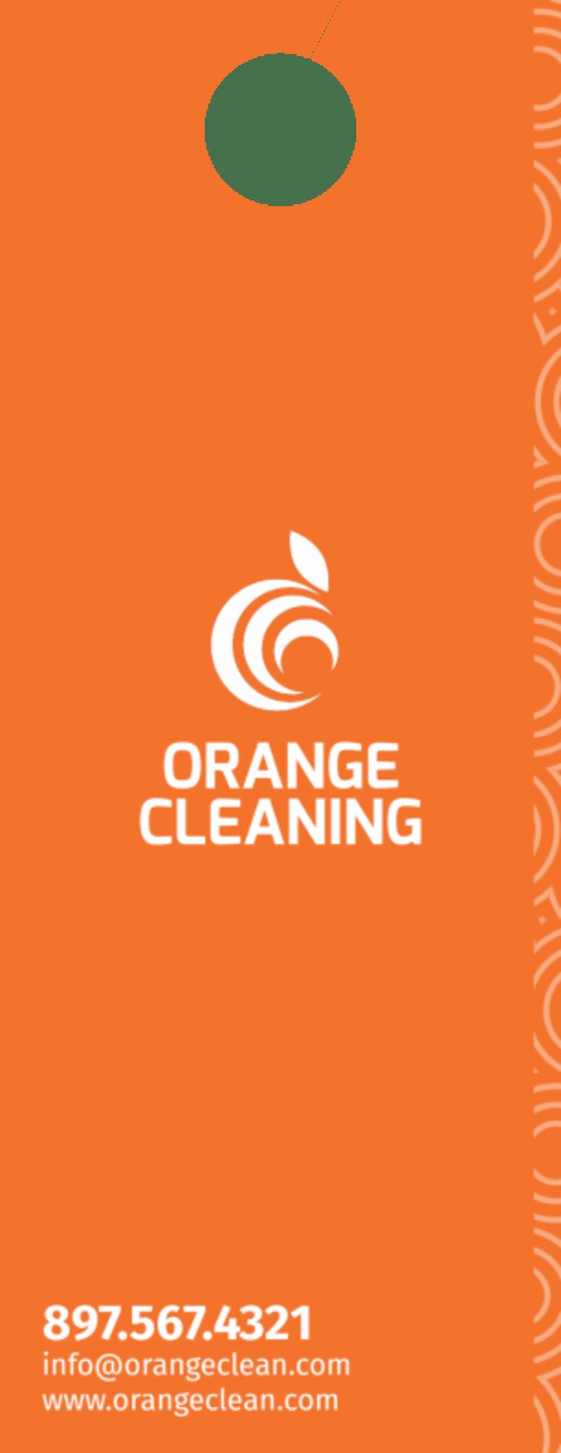 Orange House Cleaning Door Hanger Template Preview 3