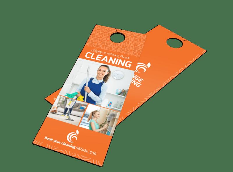 Orange House Cleaning Door Hanger Template Preview 1