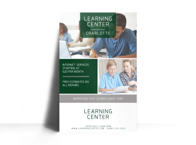 Learning Center Tutoring Poster Template preview