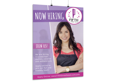 Salon Now Hiring Poster Template n15fk9vjza preview