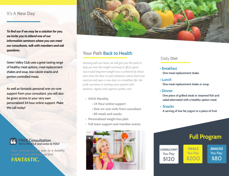 Weight Loss Brochures Tri-Fold Brochure Template Preview 3