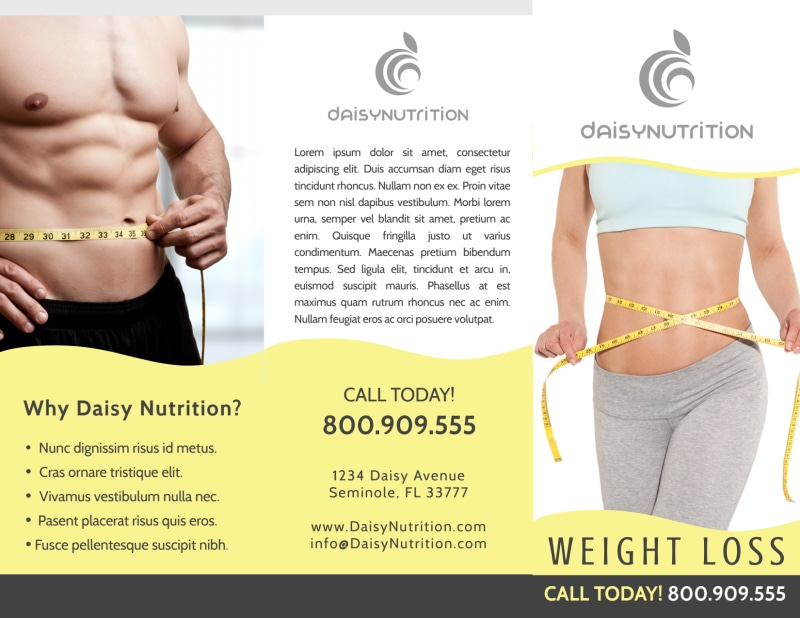 Professional Weight Loss Tri-Fold Brochure Template Preview 2