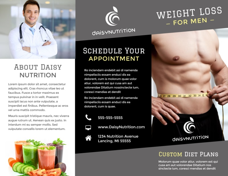 Weight Loss For Men Tri-Fold Brochure Template Preview 2