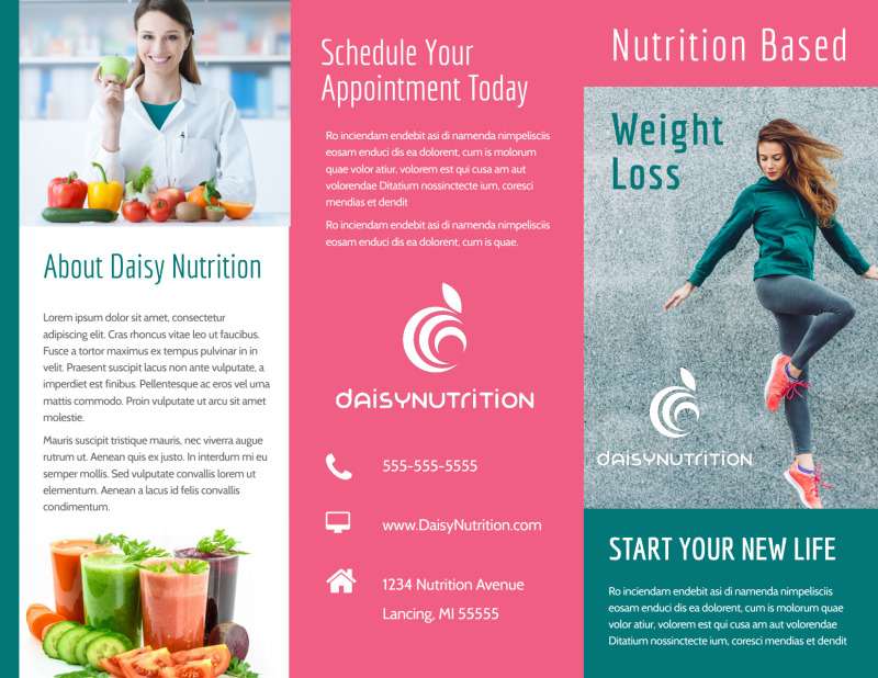 Nutrition Weight Loss Tri-Fold Brochure Template Preview 2