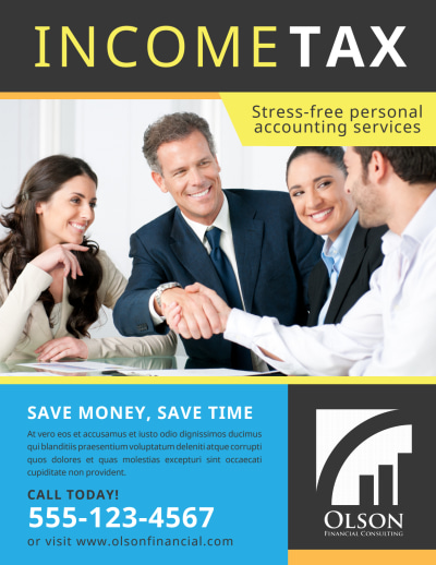 Tax Preparation Advertising Flyer Template Preview 1