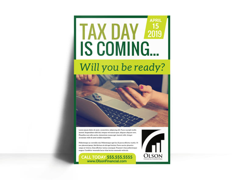 Tax Day Preparation Poster Template