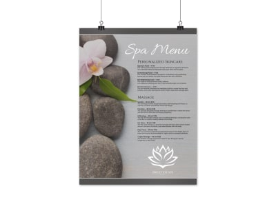 Elegant Spa Menu Poster Template preview