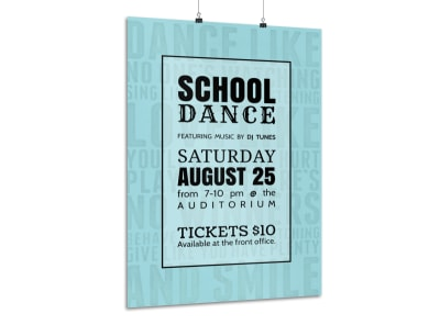 Teal School Dance Poster Template preview