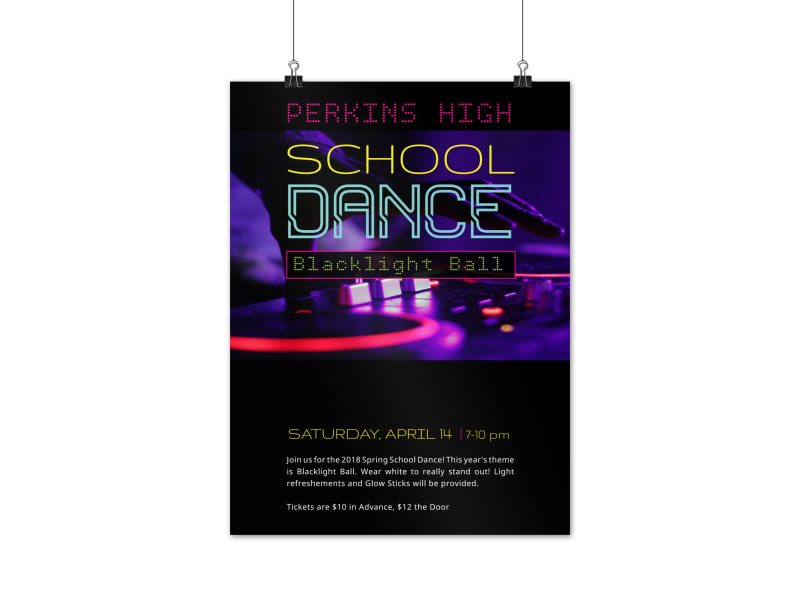 School Dance Blacklight Ball  Poster Template