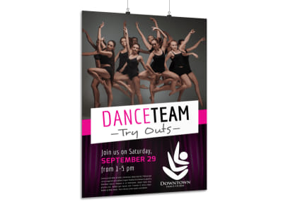 Dance Team Try Out Poster Template preview