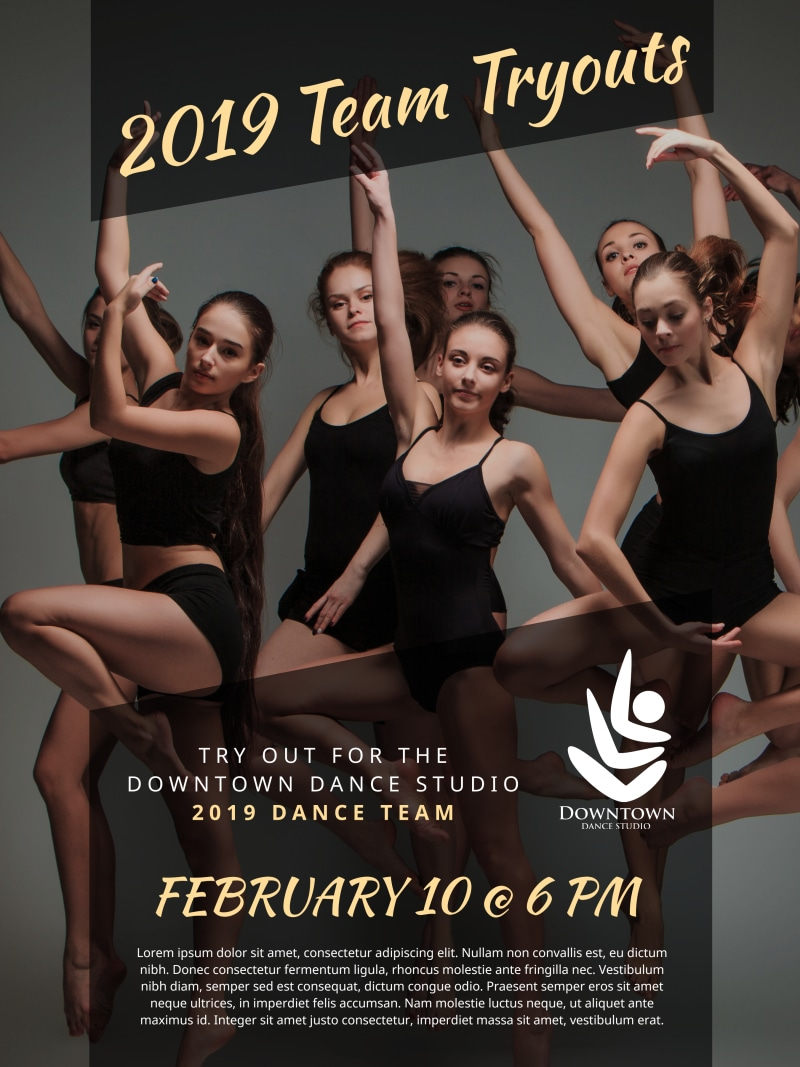 Dance Team Tryout Poster Template Preview 2