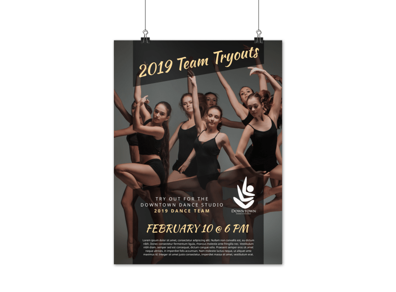 Dance Team Tryout Poster Template Preview 1