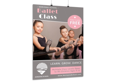 Ballet Dance Class Poster Template preview