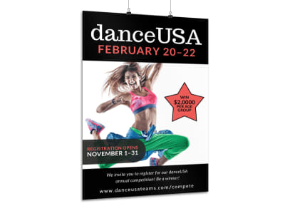 Dance Competition Registration Poster Template preview