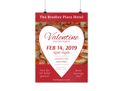 Hotel Party Valentine's Day Poster Template preview