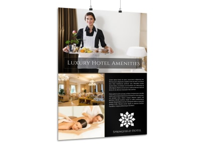 Hotel Amenities Poster Template preview