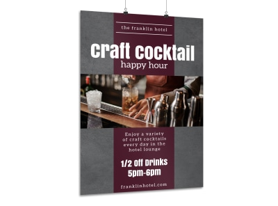 Hotel Cocktail Happy Hour Poster Template preview