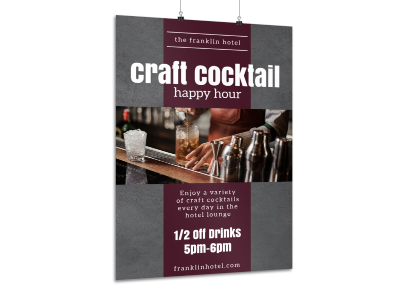 Hotel Cocktail Happy Hour Poster Template