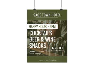 Hotel Happy Hour Event Poster Template preview
