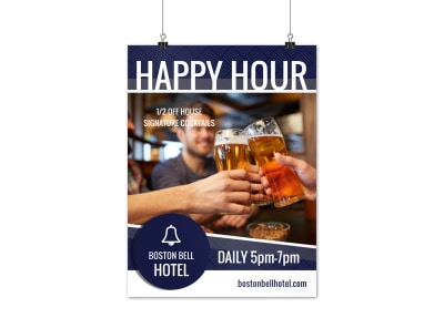 Hotel Happy Hour Special Poster Template preview