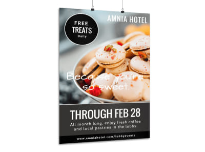 Hotel Free Treats Poster Template preview