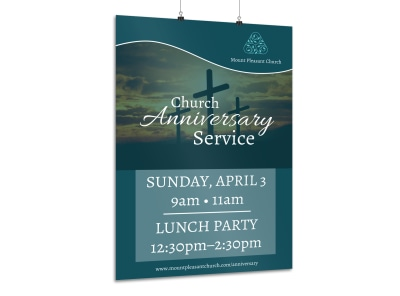Church Anniversary Service Poster Template preview