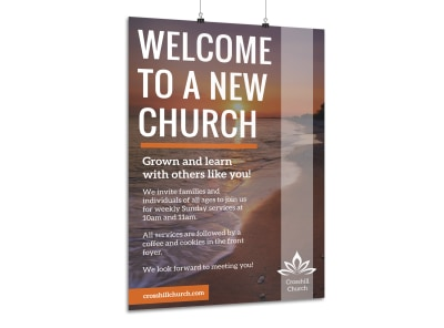 Church Welcome Outreach Poster Template preview
