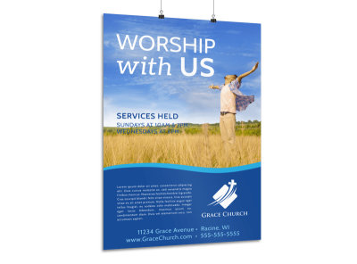 Church Worship Service Poster Template
