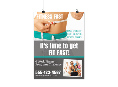 Fast Fitness Motivational Poster Template preview