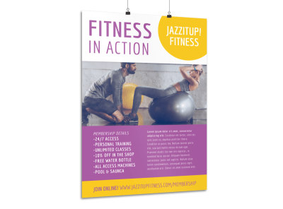 Fitness In Action Poster Template preview