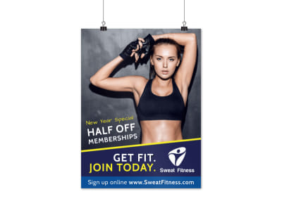 New Year Fitness Discount Poster Template preview