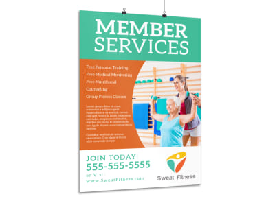 Fitness Member Service Poster Template preview