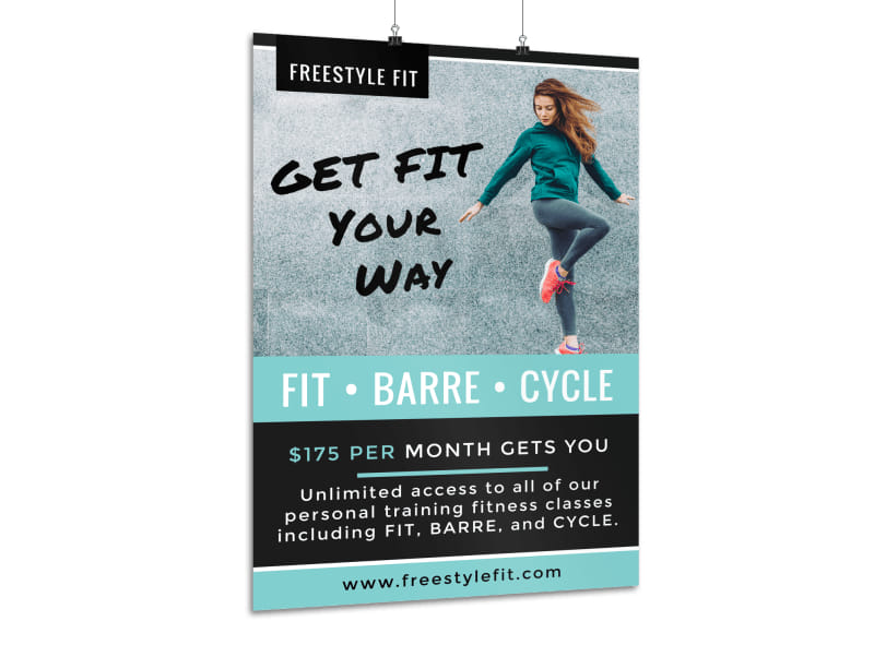 Monthly Fitness Services Poster Template