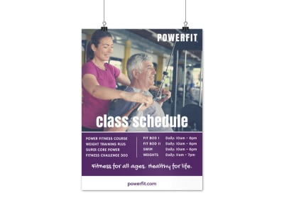 Fitness Class Schedule Poster Template preview