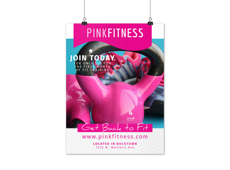 Pink Fitness Special Offer Poster Template